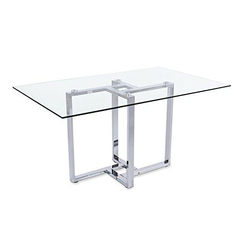 Adec - Mesa de comedor cristal para salon comedor modelo VERONA, medias: medidas 88 x 140 x 75 cm de alto (Cromado)