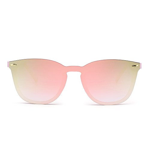 Rimless Wayfarer Sunglasses One Piece Mirror Reflective Eyeglasses for Men Women (Pink / Mirror - Lens Piece One Sunglasses