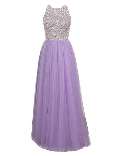 HarveyBridal Line Hand Beading Crystal Prom Homecoming Dress Long Lilac US10