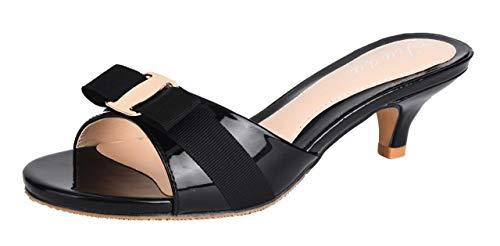Jiu du Women's Slingback Slippers Cute Bowknot Slip On Open Toe Low Heels Ladies Sandals Black Patent PU Size US6.5 EU37