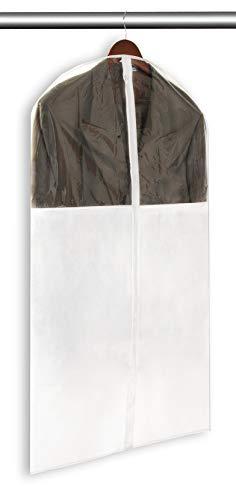 Smart Design Suit Garment Bag w/Vinyl Window - Small - VentilAir Mesh Material - Includes Zipper Closure & Travel Loop - for Suits, Coats, Pants Storage Organization (24 x 54 Inch) [White]