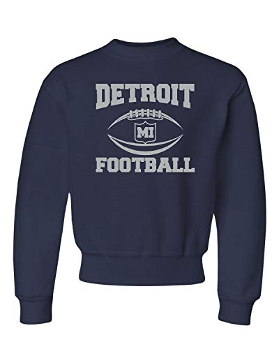 Go All Out Medium J. Navy Youth Detroit Football Crewneck Sweatshirt ()