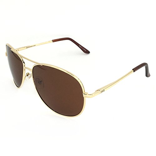 J+S Premium Military Style Classic Aviator Sunglasses, Polarized, 100% UV Protection (Large Frame - Gold Frame/Brown Lens)
