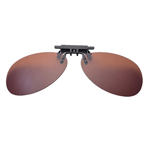 Clip-on Flip Up Sunglasses Polarized Lens For Driving Outdoor Sports Holidays Myopic Glass Presbyopic Glass (Brown ()