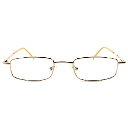 Rx Prescription Ready Slick Modern Rectangle Gold Clear Lens Eye Glasses - Glasses Modern Slick