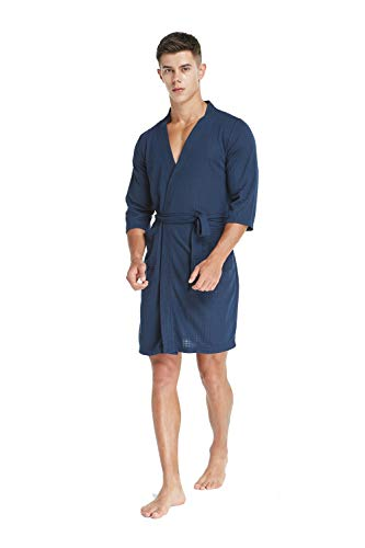 TIMSOPHIA Soft Kimono Waffle Robes for Men, Weave Knee-Length Hotel Spa Robe, 3/4 Sleeve Knee Length