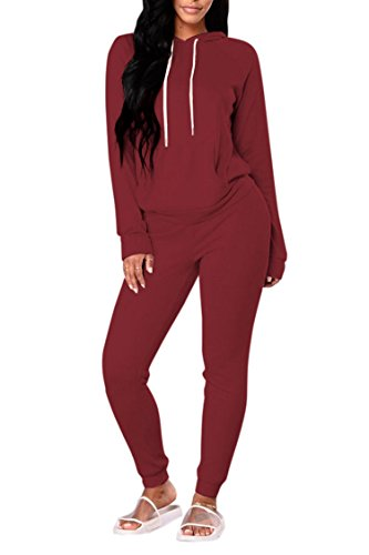 (Selowin Women Long Sleeve Fitness Drawstring Hooded Sweatsuit Tracksuit Sets Wine Red L)