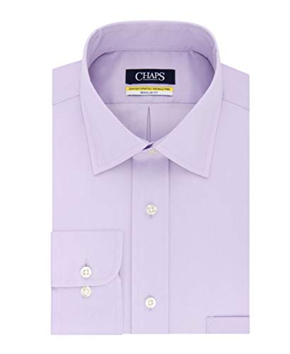 Half Elite Chaps (Chaps Mens Elite Performance Regular Fit Comfort Stretch Spread Collar Dress Shirt (Ice Lilac, Neck 18 Sleeve 34-35))