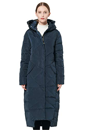 Orolay Women's Puffer Down Coat Winter Maxi Jacket with Hood Navy M