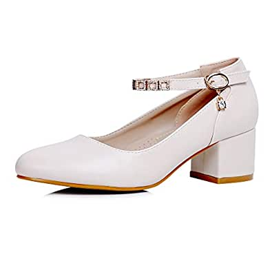 sorliva Women's Chunky Block Heel Pumps Pointed Toe High Heels Ankle Strap Mary Jane Pumps Dress Wedding Shoes (6.5, Beige)