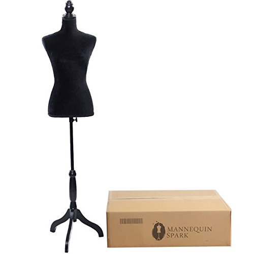 Form Dress Black - Bonnlo Female Dress Form Pinnable Mannequin Body Torso with Wooden Tripod Base Stand (Black, 6)
