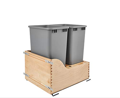 Rev-A-Shelf Dbl 50 QT Bottom Mount Waste Container, Quart, - Quart 50 Pull