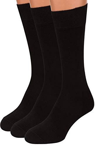 - Black Dress Socks Men, 3 packs Rich European Organic Cotton Crew Sized AIR SOCKS (Black, L)
