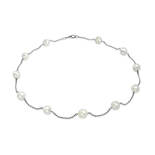 14K White Gold Freshwater Cultured Pearl 7.5MM Tin Cup Necklace 18 Inch 14k White Gold Tin Cup