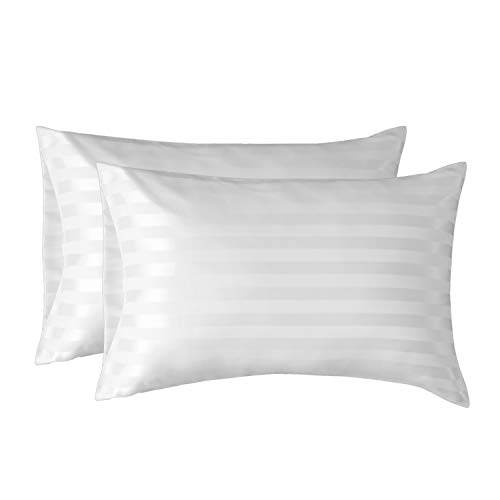Bedsure Two-Pack Satin Pillowcases Set for Hair Cool and Easy to WASH King 20x40 Striped Silver Grey with Envelope Closure