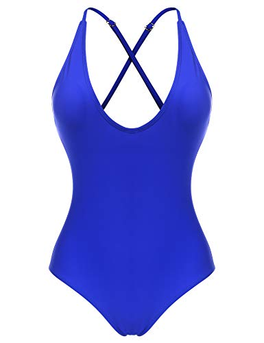 Blue Bathing Suit - Ekouaer Women Sexy One Piece Swimsuit Straps Back Cross Monokini Bathing Suit,Blue(5672),X-Large