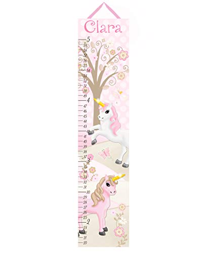 Toad and Lily Canvas Growth Chart Pink Princess Unicorn Patterns Kids Bedroom Nursery Personalized Kids Growth Chart Height Chart GC0321 ()