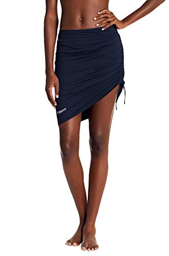 Womens Swim Skirt Waistband Mid Length Skirted Bikini Bottom Cover-up Beachwear 8 Navy