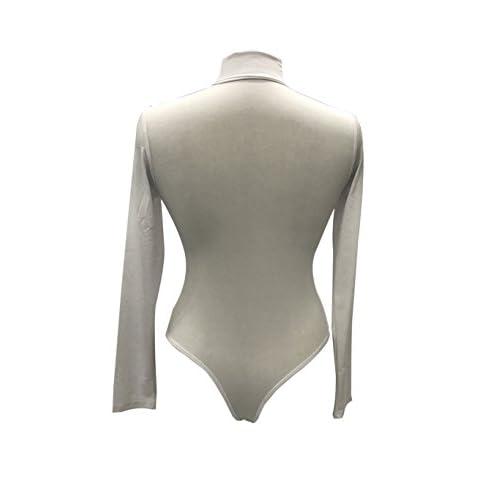 Sumtory Women High Neck Top Bodysuit Long Sleeve Bodycon Romper Solid Thong  Leotard 77003cd52
