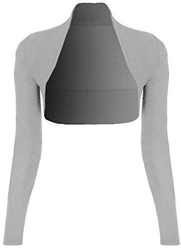 Mujer Manga Larga Bolero–Shrug––Chaqueta–Bata de hombro (Talla Única) Weiß