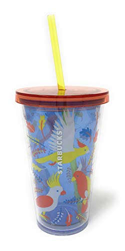 Starbucks Cold Cup Insulated Travel Tumbler Bird and Leaves Summer and Fall Design 16oz Halloween Gift Perfect for Pumpkin Spice Latte or Coffee