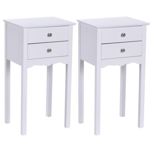 2 PCS White Accent Side Table End Stand W/2 - Chair Side Style Chippendale Mahogany
