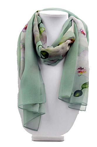 Summer Scarf - Mint Green Silk Scarf - Orchid Scarf - Tropical - Floral Scarf - Sheer - 15