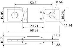Mid-Ulster 192793 Mega Fusible M8 avec extr/émit/és en cuivre Blanc 80/Amp 12/V 24/V 32/V