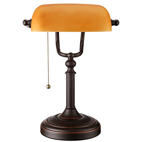 TORCHSTAR Traditional Desk Lighting Fixture, Retro Style Matte Amber Glass Bankers Lamp, Piano Lamp, Metal Beaded Pull Chain Switch, Oil Rubbed Bronze Base