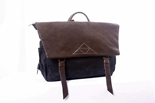 Black Beeswax Waterproof Canvas and Brown Leather Large Messenger Backpack, Unique Laptop Bag by Ruth Kraus
