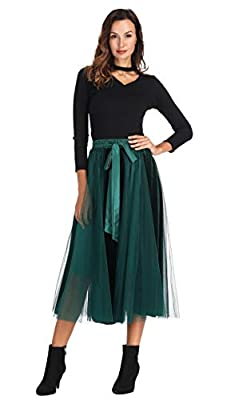 Clarisbelle Women's Tutu Tulle A-Line Knee Length Skirt Women Prom Evening Gown Dress up