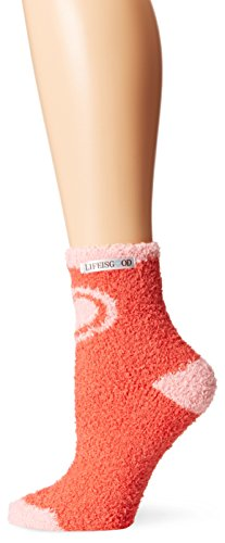 Life is good Women's Low Snuggle Heart Crew Socks, Chili Red, One Size