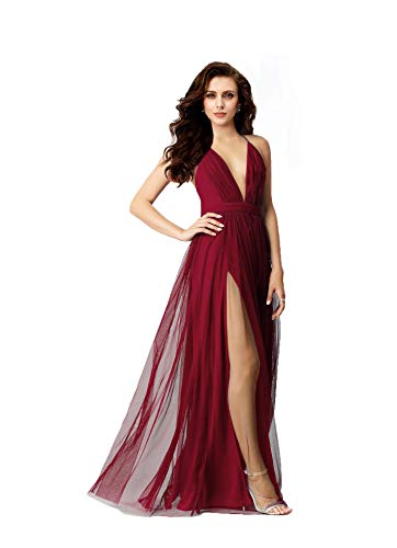 Night Glamour Women's Elegant Prom Dresses deep v-Neckline Back Tulle Sleeveless Long Party Prom Evening Formal Dress (Wine, Large)
