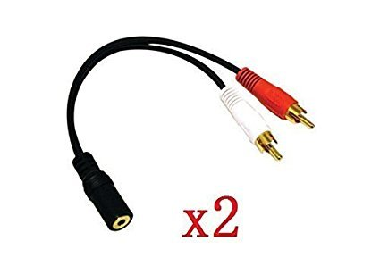 "yueton 2 Pack Gold 3.5mm 6"" Stereo Female Mini Jack to 2 Male RCA Plug Adapter Audio Y Cable"