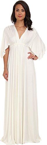 (Rachel Pally Women's Flutter Sleeve Long Caftan Dress, White, XS (US 2))
