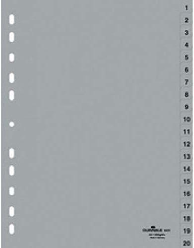 in polipropilene 1-12 copertina integrale Colore: grigio. Divisori numerici A4 Durable