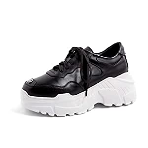 Women's Sneakers Fashion Ladies Leather Shoes Low-Top Casual Shoes New Spring Lace-Up Platform Shoes Round Flat Shoes Black White,Black,35