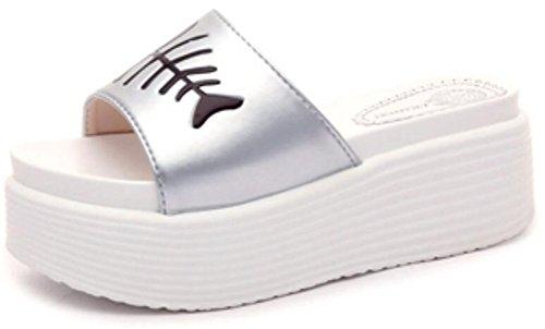 Women High Heels Fashion Breathable Sandals (Silver) - 6