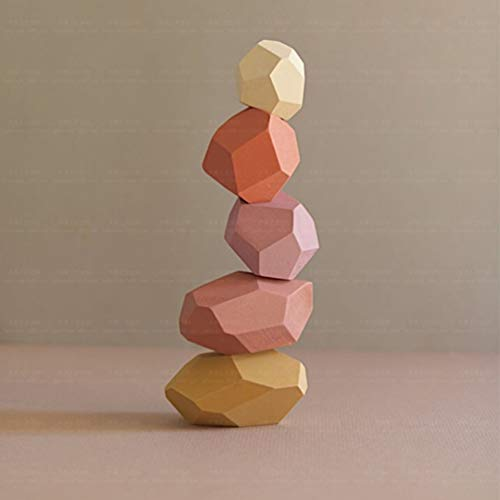 16pcs, Blue red Gupgi Wooden Building Blocks Set Lightweight Natural Balancing Blocks Colored Wooden Stones Stacking Game Rock Blocks Educational Puzzle Toy