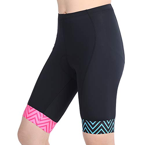 beroy Womens Triathlon Shorts with 3D Gel Padded, Girls Cycling Bike Shorts (Blue+Pink, Large)