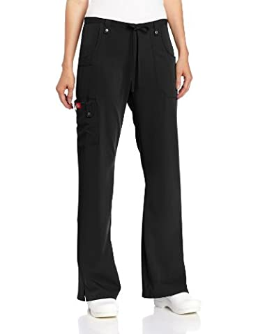 Dickies Women's Xtreme Stretch Fit Drawstring Flare Leg Pant, Black, Medium - Elastic Cargo Scrub Pants