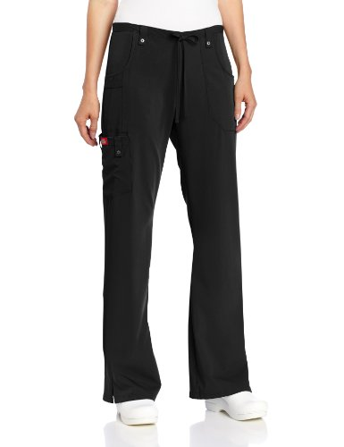 Pants Flare Dickies Scrubs (Dickies Women's Petite Xtreme Stretch Junior Fit Drawstring Flare Leg Pant, Black, Medium)