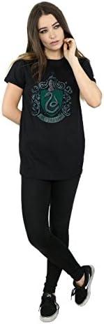 Harry Potter damski T-shirt Slytherin Distressed Crest Boyfriend Fit, kolor: czarny , rozmiar: l: Odzież