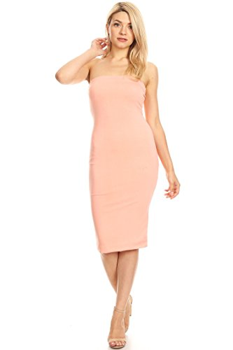 Lined Tube Top Body-Con Midi Dress/Made in USA Peach 2XL
