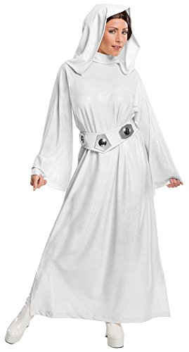 Princess Leia Costumes Adult (Rubie's Women's Star Wars Classic Deluxe Princess Leia Costume,White,Small)
