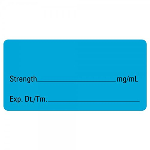 """Blank Medical Healthcare Labels-Blue, 500 2"""" x 1"""" Labels Per Roll"""