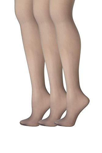 Hanes Womens Set of 3 Silk Reflections Control Top Sheer Toe Pantyhose AB, Silver Smoke