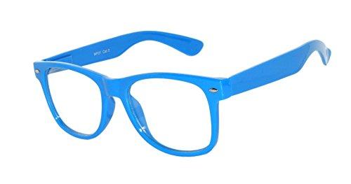 Nerd Retro 80's Vintage Sunglasses Blue Frame Clear Lens Owl - Brand Online Glasses
