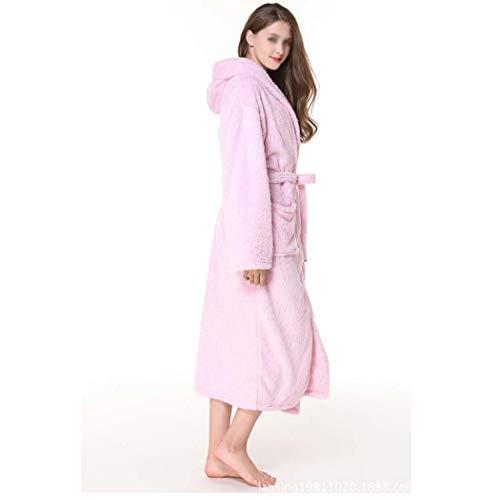 Con Coral Capucha Felpa color S Huifa Pink Par Terciopelo Suave Bata Súper Pink Camisón Cálido De Albornoz Un Largo Tamaño Baño Más A 7OOPtU