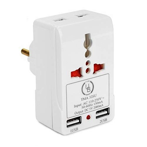 European Adapter by Yubi Power TMA32SU Travel Adapter with 2 Universal Outlets and 2 USB 2.0 Ports - Built in Surge Protector and Light Indicator - Plug Type E/F for France, Germany, Spain, and more!